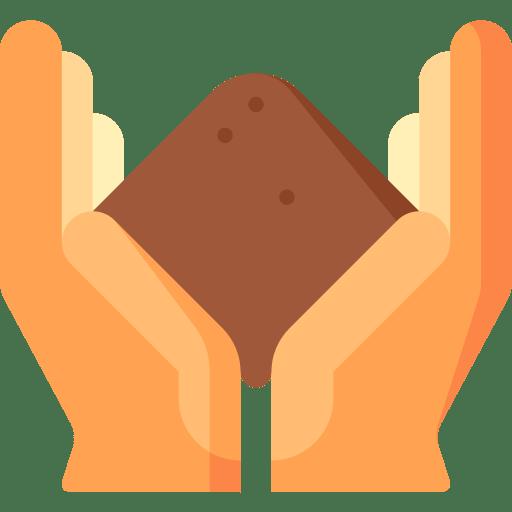 Main qui tient de la terre